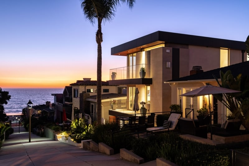 Luxury Home with Ocean in View At Sunset