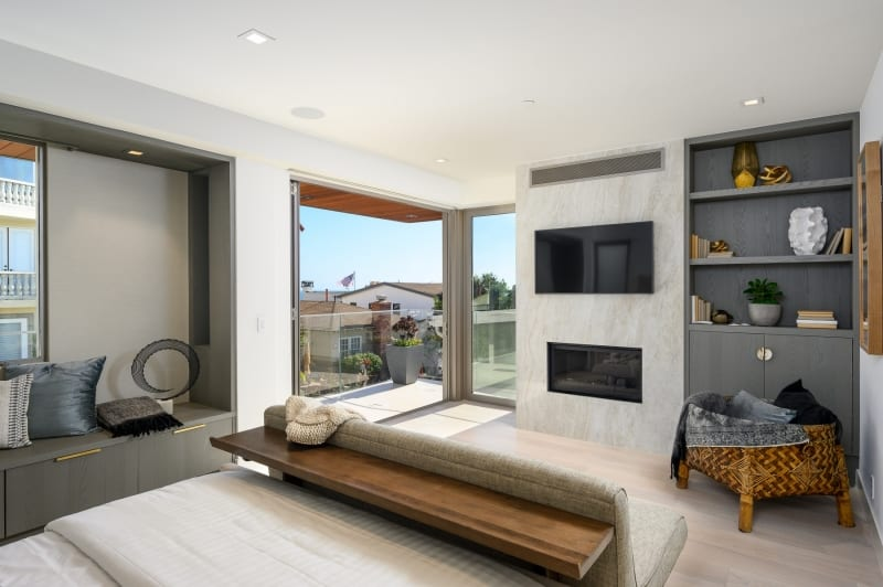 Beautiful Interior Bedroom with Hardwood Flooring