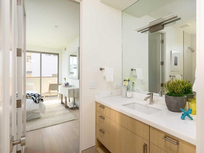 Bathroom View of Bedroom On European Oak Flooring