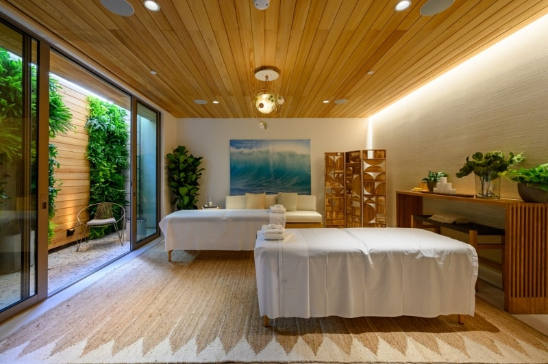 Home Spa Room with Hardwood Floors and Cieling