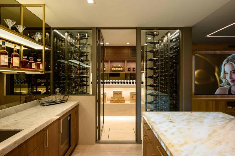 Wine Room inside Luxury Million Dollar Home