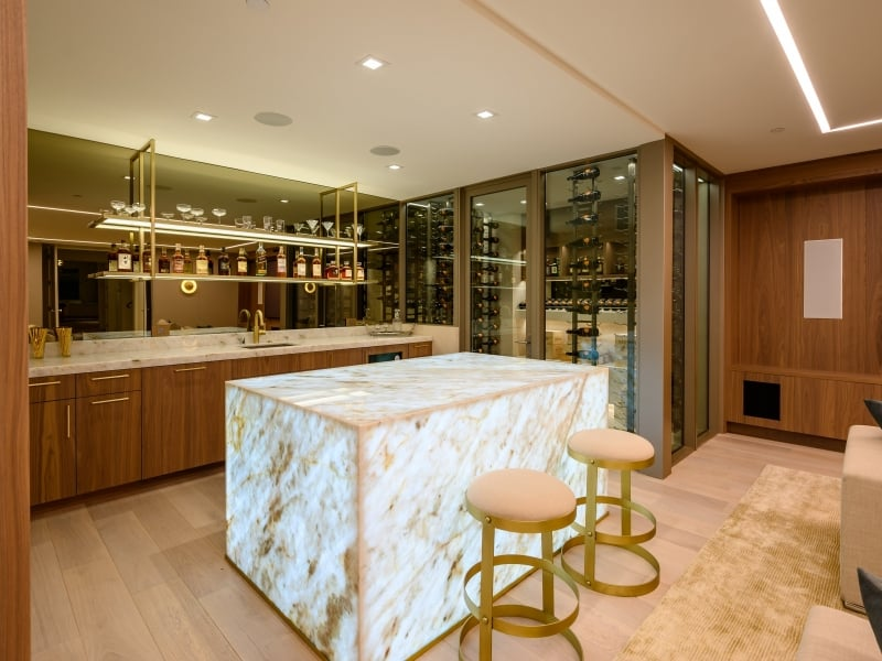 Bar And Kitchen Area with Custom Marble Block Counter