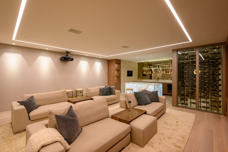 In Home Theater with Bar and Wine Room