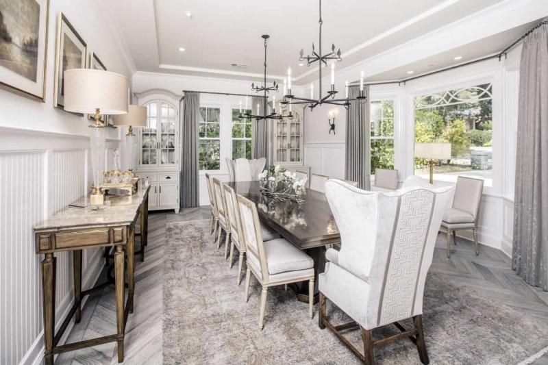 Dining Room Table with Luxury Hardwood Floors