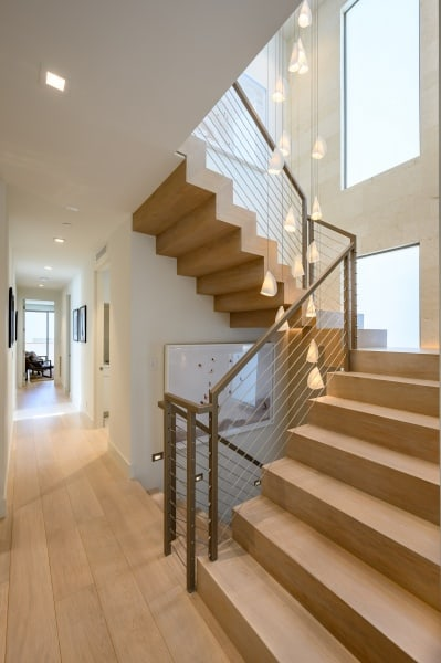 Wooden Staircase with Hanging Lights