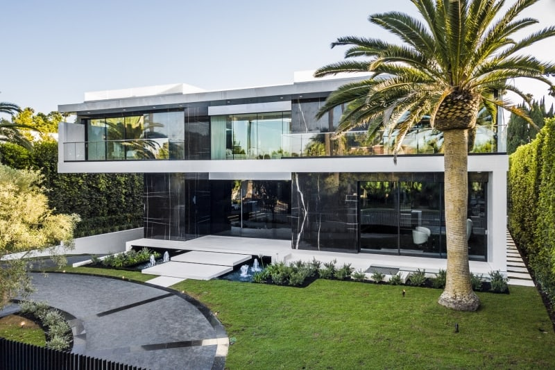 Modern Luxury Home with Palm Tree