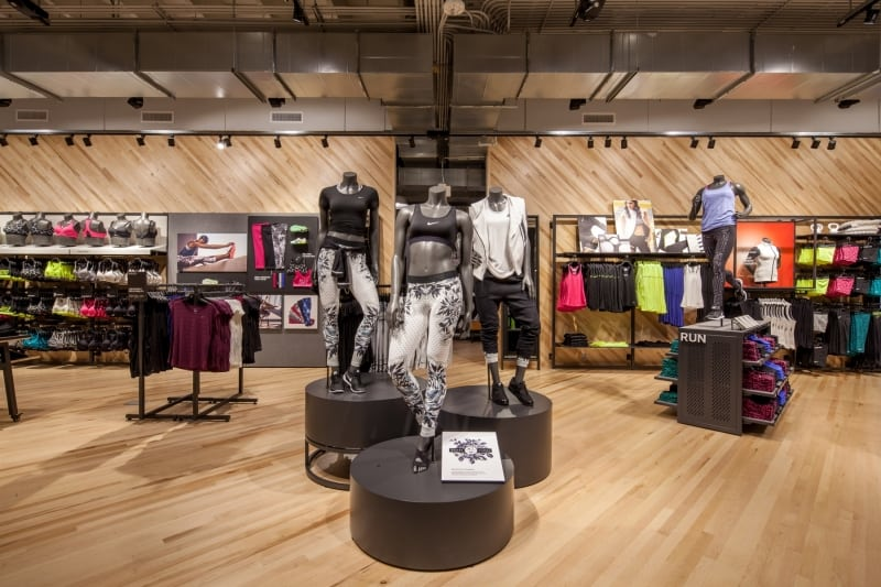 Wooden Flooring in Athletic Store by Mannequins