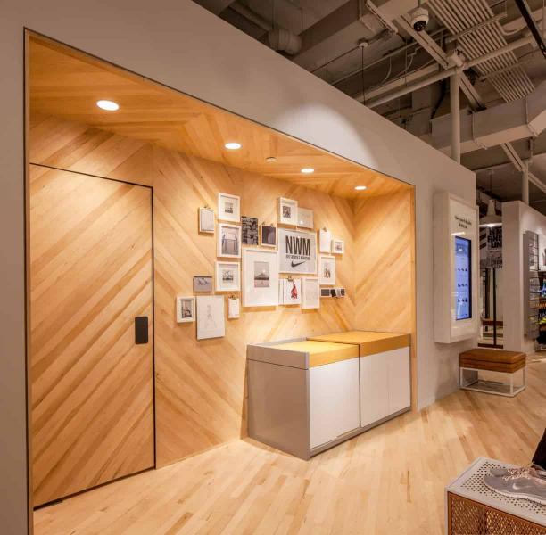 Diagonal Wood Wall with Photos