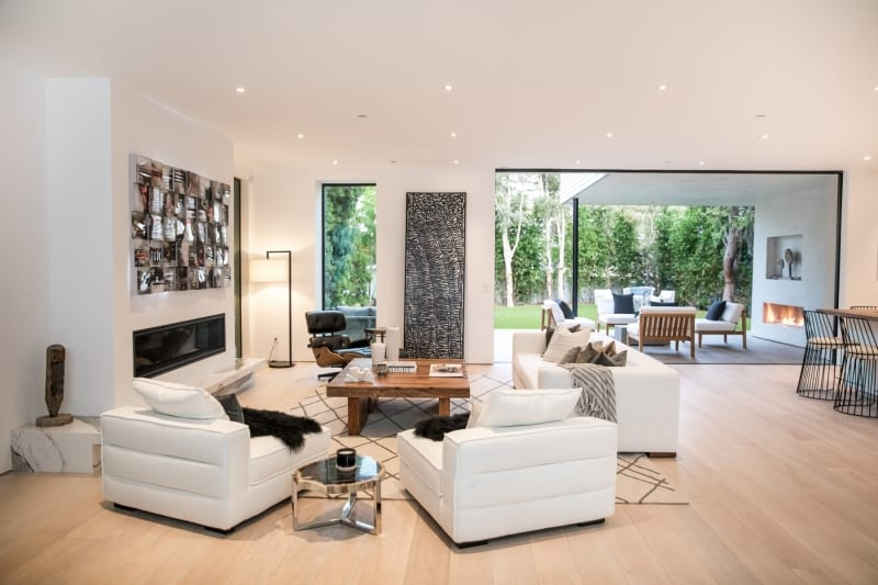 Modern Living Room with Wood Flooring and Modern Art